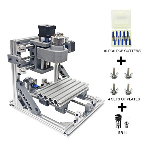 Wisamic DIY CNC Router Milling Engraving Machine 1610 with 5mm ER11 GRBL Control Wood Carving for Plastic, Wood, Acrylic, PVC, PCB with 3 Axis Working Area 160x100x45mm
