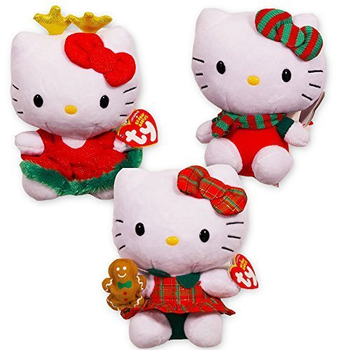 Ty Hello Kitty Christmas Beanie Baby Collection -- Set of 3 Plush 6
