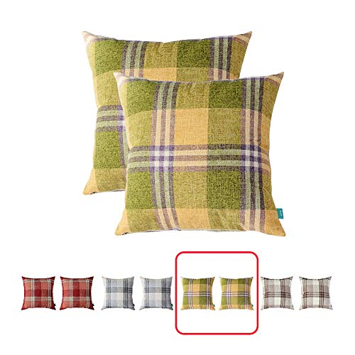 hpuk Set of 2 Buffalo Check Big Plaid Throw Pillow Cover, Green and Yellow Decorative Cushion Pillowcase for Bed Sofa Couch Car, 17x17, Green (Green Cushions And Yellow)