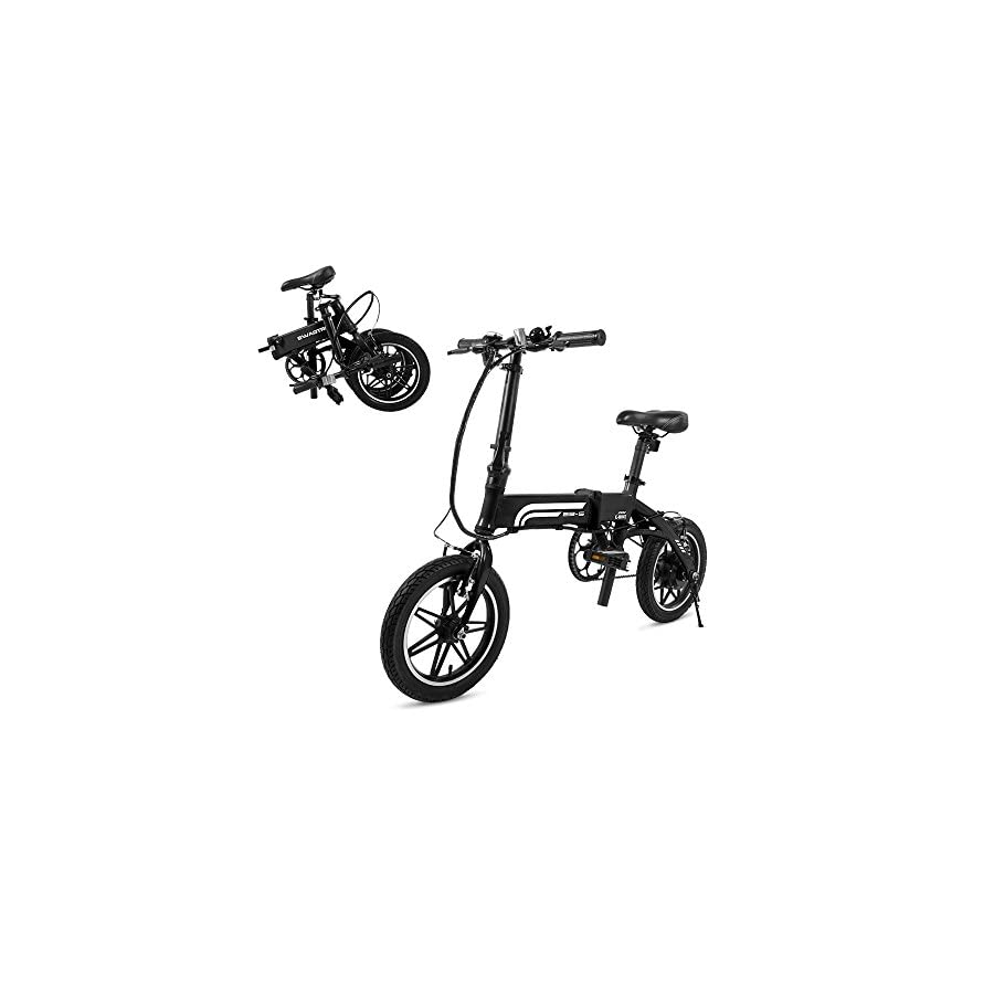 SwagCycle EB 5 Pro Lightweight and Aluminum Folding EBike with Pedals, Power Assist, and 36V Lithium Ion Battery; Electric Bike with 14 inch Wheels and 250W Hub Motor