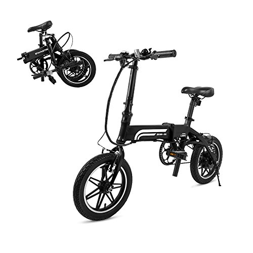 Aluminum Electric Scooter - SWAGTRON Swagcycle EB5 Lightweight & Aluminum Folding Ebike with Pedals, Black, 58cm/Medium