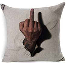 """ECSEO Cotton Linen Square Decorative Throw Pillow Case Cushion Cover Middle Finger 18x18 """" White"""