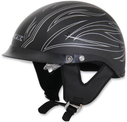 (AFX FX-200 Dual Inner Lens Half-Style Beanie Helmet, Silver Flat Pinstripe 0103-0757, Size: XS)
