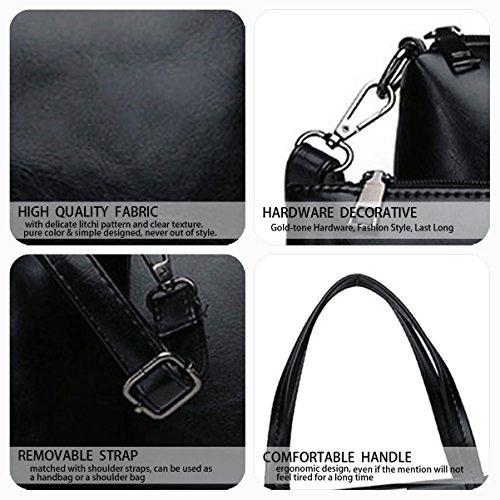 Fekete 3pcs bandolera clutches Fekete Mujer de Carteras hombro Shoppers mano y de y Bolsos Set bolsos 77ZTHq4f