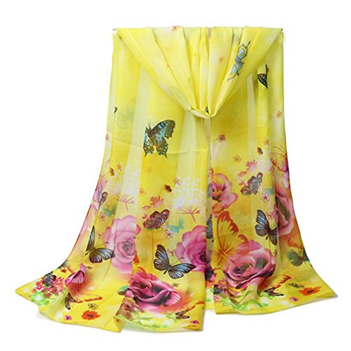 Yellow Butterfly Roses (Women Scarf, CoKate Autumn Winter Soft Floral and Butterfly Print Chiffon Lightweight Scarf (Yellow))