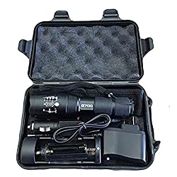 LED Tactical Flashlight - Outdoor Flashlight - Adjustable Focus, Water Resistant, Multi-Switch Aircraft Grade Aluminum LumiTact Tactical G700 Flashlight (All-in-One Kit)