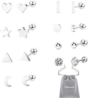 Juego de 8 pares de pendientes de acero inoxidable para la oreja y el cartílago de tragus, con diseño de corazón, estrella, luna, circonita cúbica, para mujer y hombre: Amazon.es: Joyería