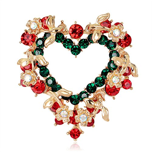 Stunning Heart Rhinestone Christmas Wreath Pin Brooch (Heart Pin Rhinestone)