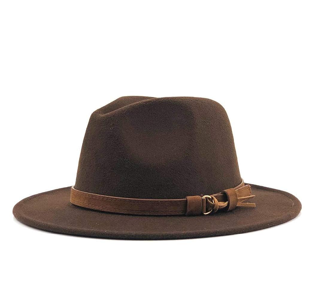 Women Men Wool Fedora Hat with Leather Ribbon Gentleman Elegant Lady Winter Panama Sombrero Cap