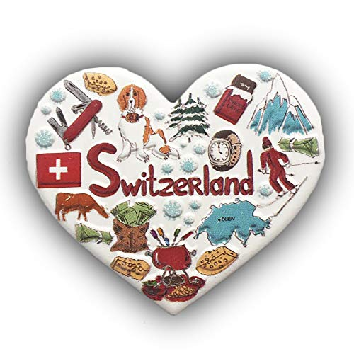 3D Switzerland Heart-shaped Refrigerator Magnet Tourist Souvenirs Resin Magnetic Stickers Fridge Magnet Home & Kitchen Decoration from China (Switzerland)