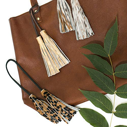 Image Unavailable. Image not available for. Color  Cowhide Leather Tassel  Purse Charm - Handbag ... d58f12acff2cf