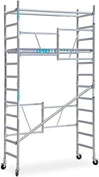 Andamio plegable de aluminio - 4,7 m altura de trabajo - sin estabilizadores: Amazon.es: Bricolaje y herramientas