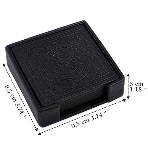 Large Product Image of SPSHENG Coasters,PU Leather Drink Coasters Cup Mat Set of 6 for Beverage Drinks (black)