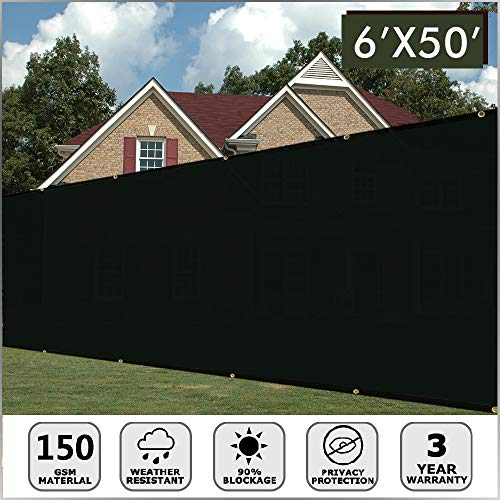 Artpuch Fence Privacy Screen 6' x 50' Black Heavy Duty Fence Screen with Brass Grommets for Wall Garden Yard Backyard