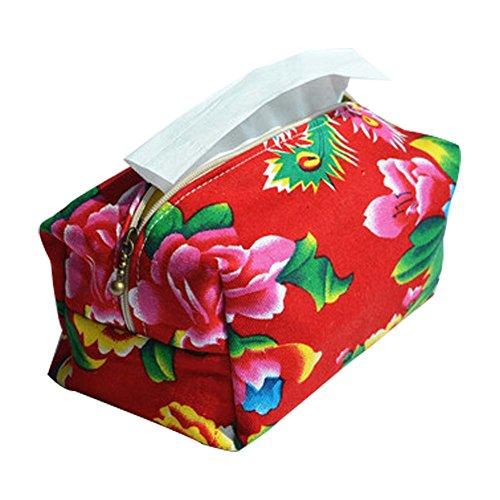 PANDA SUPERSTORE Rectangular Tissue Box Cover Flora Pattern Red Tissue Holder