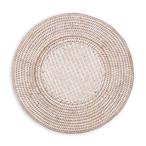 Entertaining with Caspari Rattan Dinner Plate Charger, Round, Natural White, 1-Count China Round Chop Plate