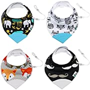 NEW! Tickles & Wiggles Organic Cotton Bandana Baby Bibs for Teething, Drool, Food - Shower Registry Gifts for Infants, BPA Free Silicone Teether, Adjustable Nickel-Free Snaps, Pacifier Tether