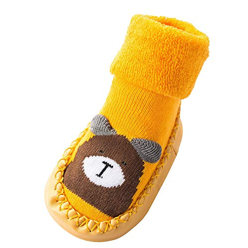 NUWFOR Newborn Baby Boys Girls Cartoon Cute Warm Floor Socks Anti-Slip Baby Step Socks(Yellow,6-9Months by NUWFOR (Image #2)