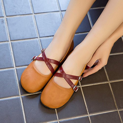Carolbar Womens Retro Buckle Casual Lolita Cosplay Mary Janes Flats Yellow ImySrBXs
