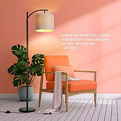 Floor Lamp, Zanflare LED Floor Lamp-Classic Arc Floor Lamp with Hanging Lamp Shade, Modern Floor Lamp for Bedroom, Office, Study Room, Energy Saving Bedside Lamp with LED Bulb, Black