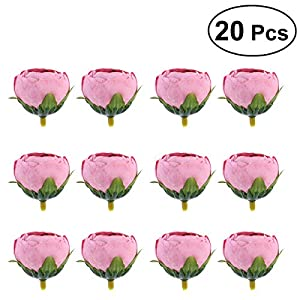 TOYANDONA 20 Pcs DIY Artificial Fake Camellia Flowers Heads for Weddings Parties Home Decoration 3.5cm (Dark Pink) 12