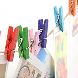 Creative Home(TM) 50 Pcs 1.4-inch Mini Colored Wooden Spring Memo Paper Clamp Clips Folder Clothespins Photo Postcard Display Craft Clip Mixed Multicolor