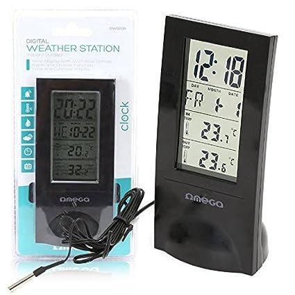 Omega - Pm digital ows02b negro con pantalla lcd con formato de 12 / 24h y