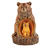 Bear and Baby Cub Outdoor Solar Garden Decoration, Carved Look, Rustic Cabin Decor for Yard, Lawn