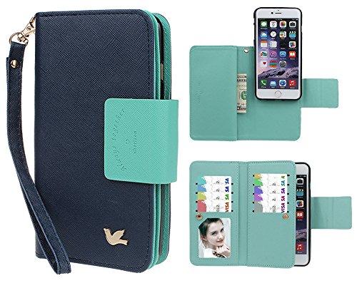 Case for iPhone 6 6S, xhorizon TM FLK Premium Leather Folio Case Wallet Magnetic Detachable Wristlet Purse Flip Multiple Card Slots Bird Case for iPhone 6 6s [4.7'] (Navy)