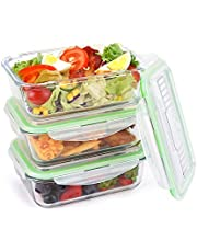 Symbom Glass Lunch Bento Boxes Airtight Food Storage Meal Prep Containers with Locking Lids, Microwave, Oven, Freezer, Dishwasher Safe - BPA Free [3 Pack, 35oz, Rectangle]