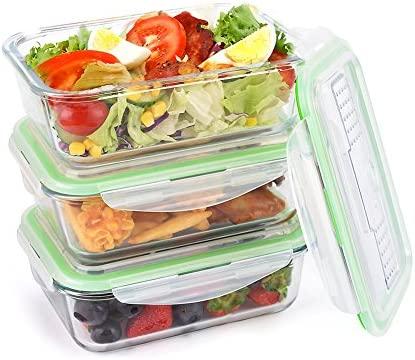 Symbom [3 Paquete] Fiambrera 1L Bento Lunch box Vidrio Contenedores de Alimentos Hermético, Para Microondas, Horno, Congelador, Lavavajillas Seguro ...