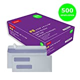 Double Window Self Seal Security Check Envelopes #8 Ideal for Quickbooks Checks, Business Check, Document Secure Mailing, Peel & Seal Adhesive, Tinted White Envelope, 3 5/8 x 8 11/16, 500 Pack per Box