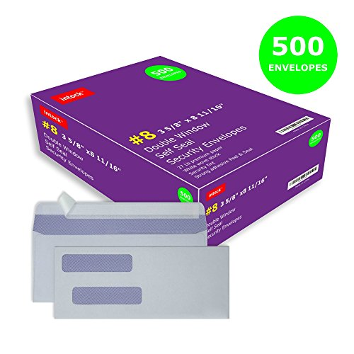 Double Window Self Seal Security Check Envelopes #8 Ideal for Quickbooks Checks, Business Check, Document Secure Mailing, Peel & Seal Adhesive, Tinted White Envelope, 3 5/8 x 8 11/16, 500 Pack per Box ()