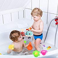 SouthStar Baby Bath Toys 18pcs Baby Squirt Toys with Fishing Net,Floating Bath Toy Animals Bath Squirters Beach or Kids Bathtub  Bright Entertaining Toy for Children in Pool