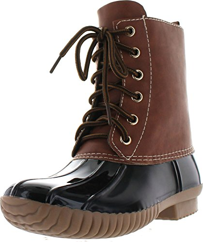 AXNY Dylan Women's Lace Up Two Tone Combat Style Calf Rain Duck Boots,Black,8