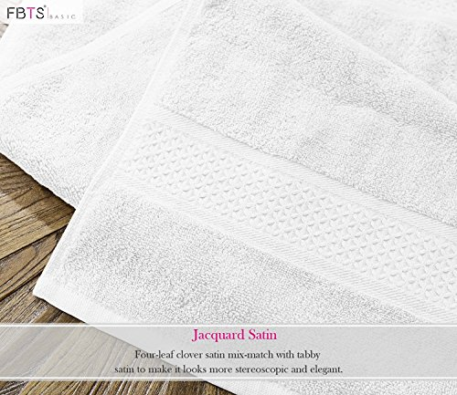 FBTS Basic Washcloths 12 Packs White 14x14 Inches Cotton Luxury Wash Cloth Towels Highly Absorbent Extra Soft Professional Grade Five-Star Hotel Quality