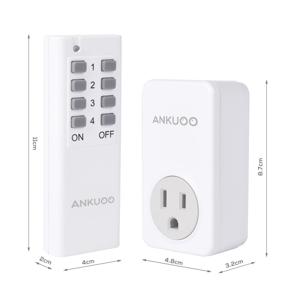 Remote Control Outlet Wireless Light Switch Power Plug By Ankuoo, Wireless Outlet For Household Appliances with 100 ft. Range, White (1 Remote + 3 Outlets) Pack