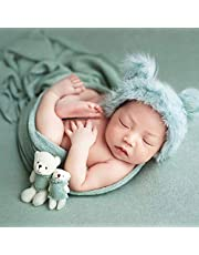 Newborn Photography Prop Wrap Fluffy Hat Bear Doll Set Infant Baby Photo Props Outfits for Baby Boys Girls