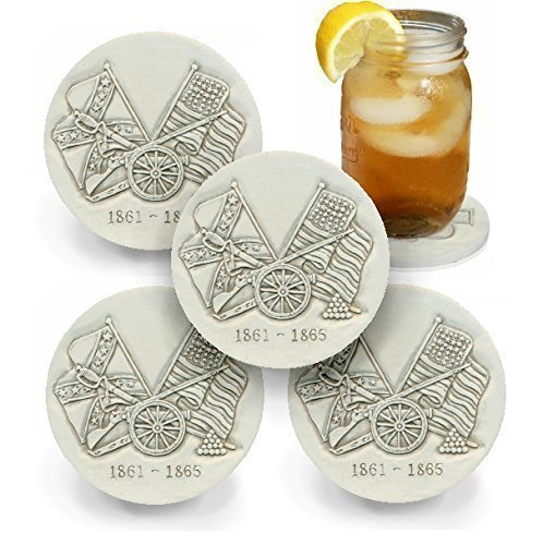 Drink Coasters by McCarter Coasters, Civil War, Absorbent, Light Beige 4.25 inch (Stoneware Com)