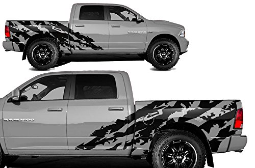 FactoryCrafts Dodge Ram 2009-2018 5.7 Bed Shred Graphics Kit 3M Vinyl Decal Wrap - Matte Black