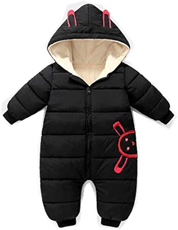 H.eternal Baby Romper Kid Down Cotton Romper Winter Coat Zipper Long Sleeve Cute Snowsuit Hoodie Jacket One-Piece Jumpsuits for 0-24Monthes