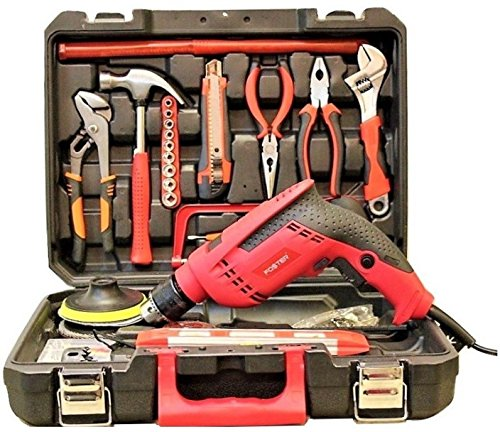 Foster FK-5513 Pro 650W 13mm Reversible 160Pcs Impact Driver Drill Machine Kit (13mm Chuck Size, 650W)