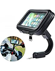Motorcycle Universal Phone Mount Holder Waterproof Motorcycle Cell Phone Holder with Rain Cover 360° Rotation Motorbike Rearview Mirror Mount XL Size, fits All Mobile Phones and GPS Devices