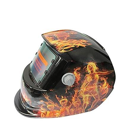 SODIAL 2018 Nuevo Pro Mascara soldador solar Casco de soldadura de oscurecimiento automatico Llama bailando