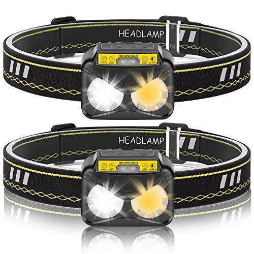 USB oplaadbare hoofdlampen, set van 2, IPX5 waterdicht voor vissen, hardlopen, kamperen, wandelen