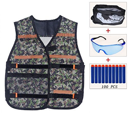 ENNRUI Kids Jungle Camouflage Tactical Vest Jacket Kit (with 100pcs Blue Foam Darts + Protective Goggles Glasses+Seamless Face Mask) for Nerf Toy Gun N-strike Elite (Team Series Goggles)