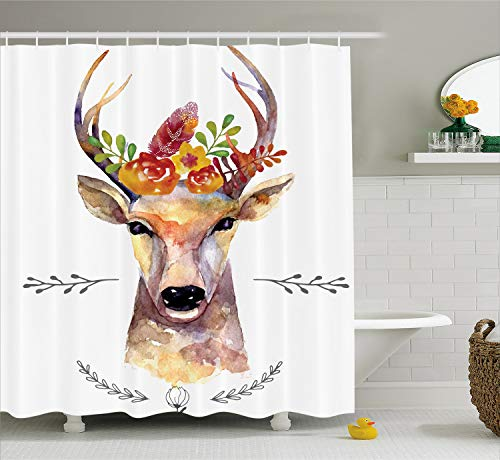 Ambesonne Indie Shower Curtain, Deer Portrait in Watercolor Painting Style Boho Flower Bouquet Hipster Rustic Artwork, Cloth Fabric Bathroom Decor Set with Hooks, 70