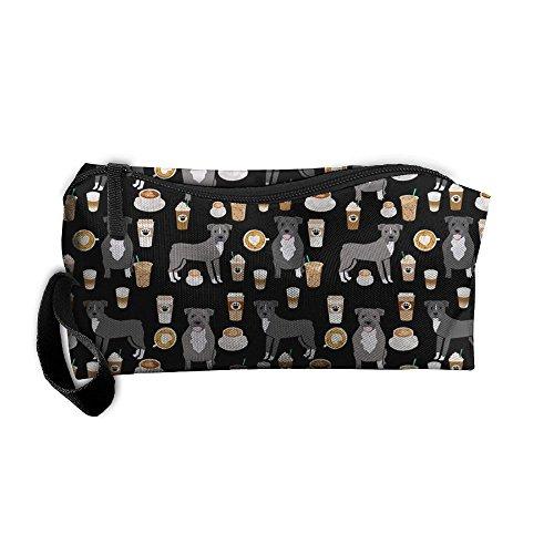 Coffee Latte Cafe Dog Pencil Case Travel Toiletry Bag Receive Bag Pencil Bag Durable Pouch Zipper Big Capacity Trave Makeup Organizer Bag (Cafe Latte Lipstick)