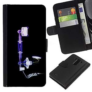 A-type (X Ray Imagen) Colorida Impresión Funda Cuero Monedero Caja Bolsa Cubierta Caja Piel Card Slots Para LG G3
