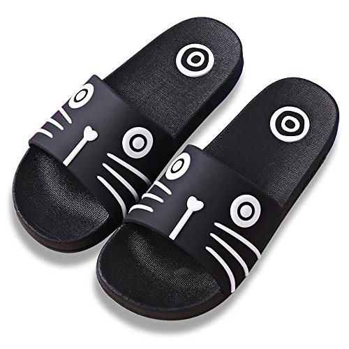 DKKK Couple Home Shose Nonslip Bath Slipper Open Toe Sandals Beach Black Cat Size 10 11 by DKKK